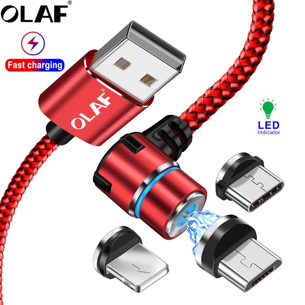 OLAF Magnetische USB Kabel Für iPhone XS 7 Samsung S9 Xiaomi Huawei LED 90 Degree Schnelle Lade Magnet <font><b>Microusb</b></font> Typ C USB C Kabel image