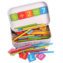 Igračke za bebe novog dolaska Magnetic Iron Box Counting Stick Drvene igračke Educational Arithmetic Rods Matematika Igračke Child Birthday Gift