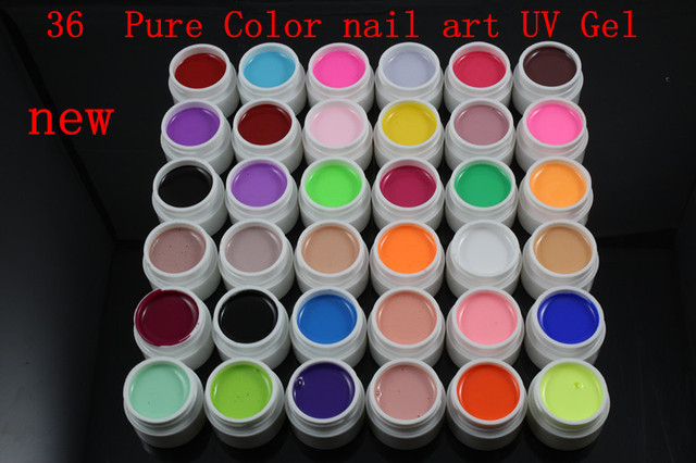 New 36  Pure Color color UV Gel colored vu gel For Nail Art uv gel nail polish sets #36-36
