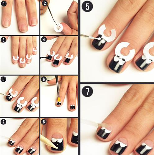 18 Decals French Nail Stencils For Diy Art Guide Adhesive Design Manicure Templates Sticker Accessories In Stickers From
