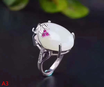 KJJEAXCMY Fine jewelry 925 pure silver inlaid natural white jade female ring, micro inlaid jewelry