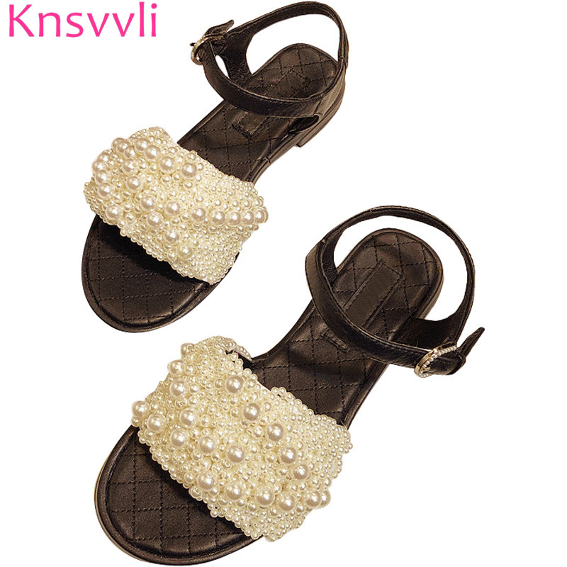 Knsvvli fashion casual handmade sewed pearl flats sandals woman summer comfort genuine leather one word buckle sandalias mujerKnsvvli fashion casual handmade sewed pearl flats sandals woman summer comfort genuine leather one word buckle sandalias mujer