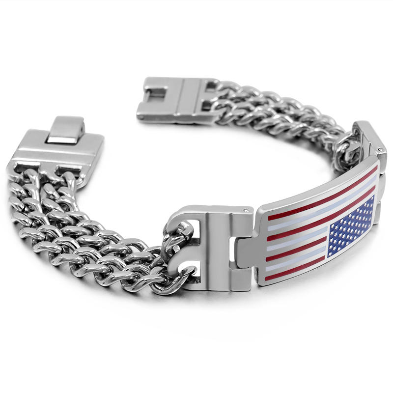 CHIMDOU Hiphop Bracelets ID National Flag Double Link Chain Men Stainless Steel Bangle Personalized Giftman Armband