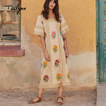 TEELYNN long Boho dress 2018 new cotton floral embroidery square neck short sleeve autumn dresses sp