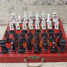 Antique Chess Three-dimensional Super Large Chess Pieces Wooden Folding Chess Board Terracotta Warriors Figures Easytoday wholesale cheap new chinese retro chess set terracotta warriors classic large size chess 29 16 9 5cm