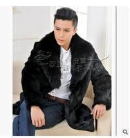 S/3xl mens faux pelliccia di visone giacche casual pelliccia di volpe cappotti Nero collo di pelliccia di coniglio cappotti uomo di sezione lunga outwears cappotti J1400
