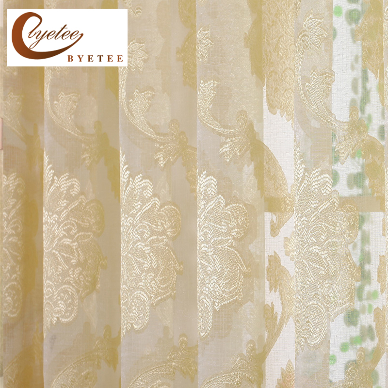 {Byetee} Jacquared Gul Vinduet Gardiner Til Dagligstue Sheer Tulle In Kitchen Door Billige Organza Curtain Solid Cortinas