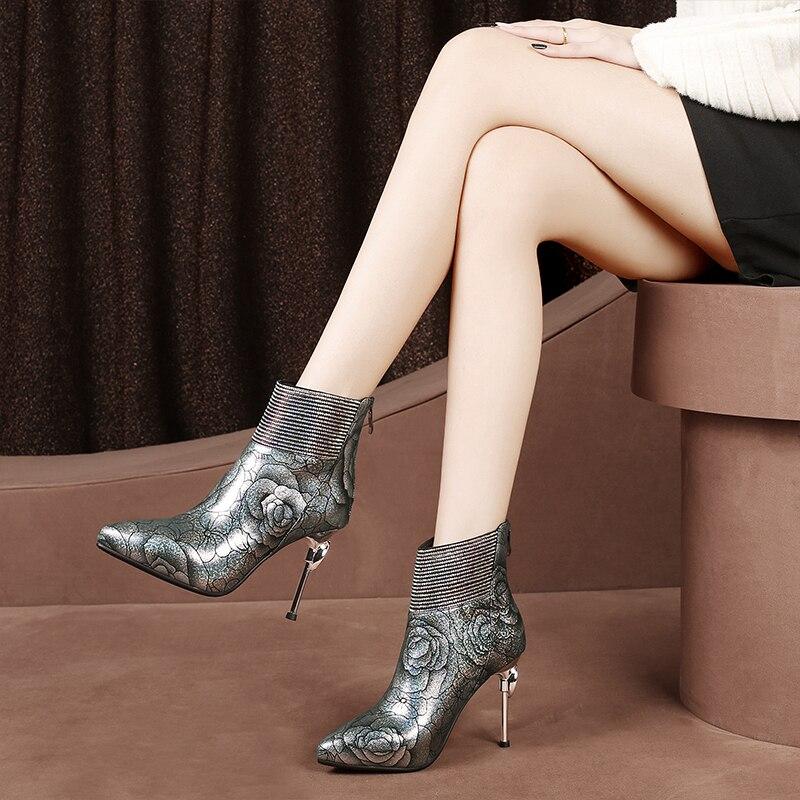 Cuir Marque 8 5cm Femmes Hs Botas Zapatos Sexy Pour Chaussures Mujer 5cm Cheville black Haut Rose Véritable hs Conception 9 Femme 5cm 8 Botines 5cm 9 En black Stiletto Talons Motif Bottes AjS4LRq3c5