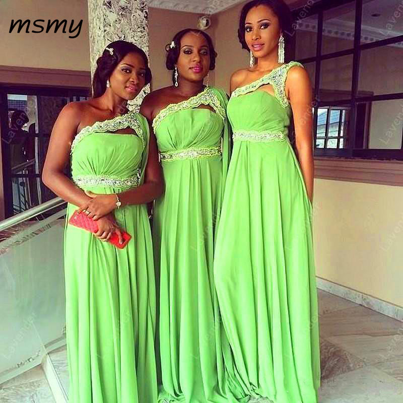 New Lime Green Chiffon Bridesmaid Dresses 2018 One Shoulder Lace Beaded Long Custom Made Prom Gowns