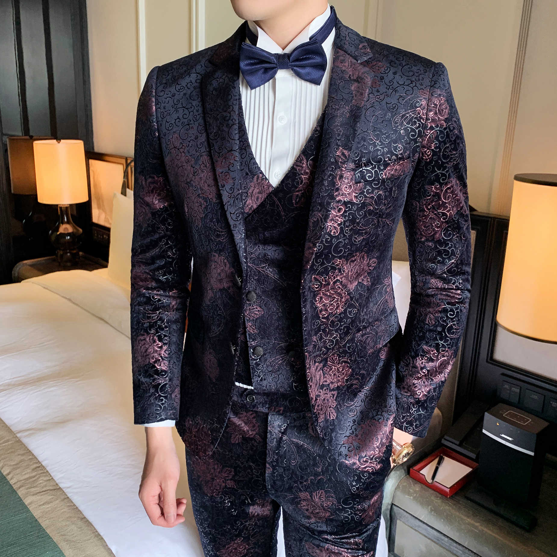 3 Piece Wedding Men Dress Suits Casual Slim Fit Terno Masculino Luxury Velvet Stage Singer Business Formal Mens Suits With Pants