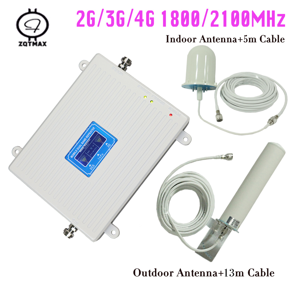 2g 3g 4g Lte Repeater Gain 70DB DCS / 3G Cell Phone Repeater Dual Band 1800 / 2100 Mhz Mobile Signal Booster Cellular Amplifier