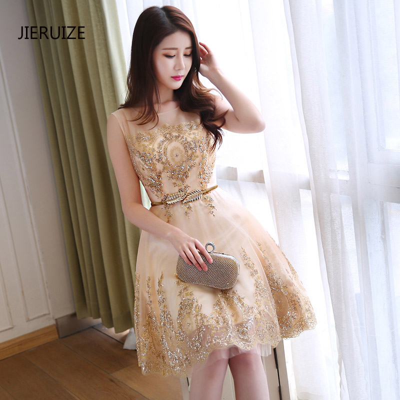 JIERUIZE Champagne And Gold Lace Appliques with Belt Cocktail Dresses Sheer Back Short Prom Party Dresses vestidos de coctel