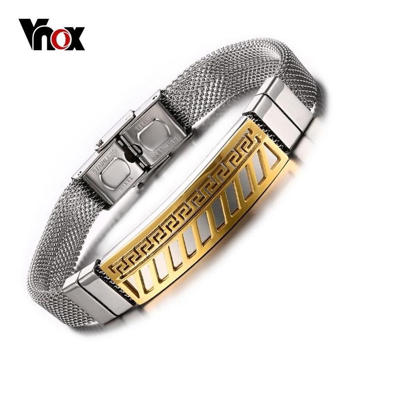 Vnox Men's Bracelets Gold-color Greek Key Pattern Bracelet Stainless Steel Mesh Bracelets for Men Jewelry