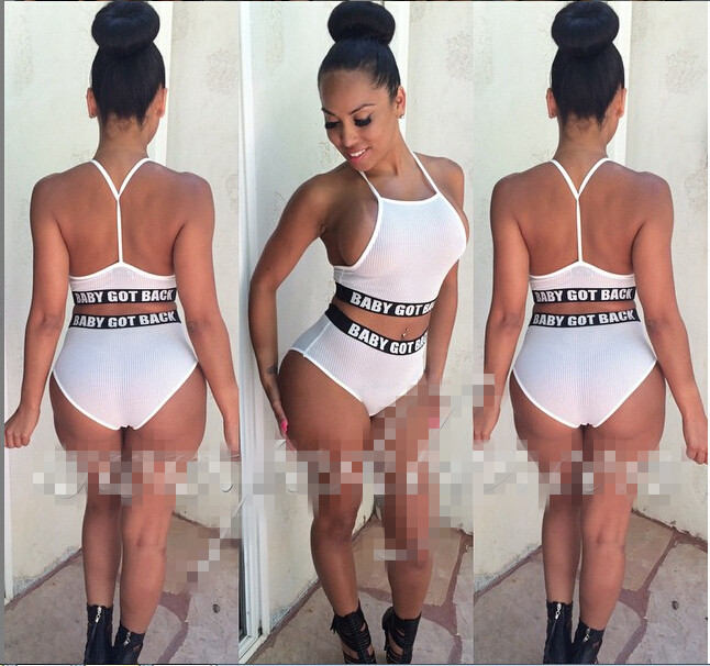 2017 black underwear cute printed letter high waisted bikini high neck halter top swimsuit white women's two pieces swimwear
