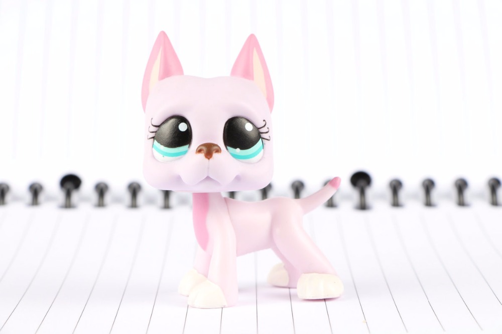 New Pet Collection Figure LPS #1022 Pink Great Dane Dog w/ Blue Eyes & Sticker Kids Toys ...