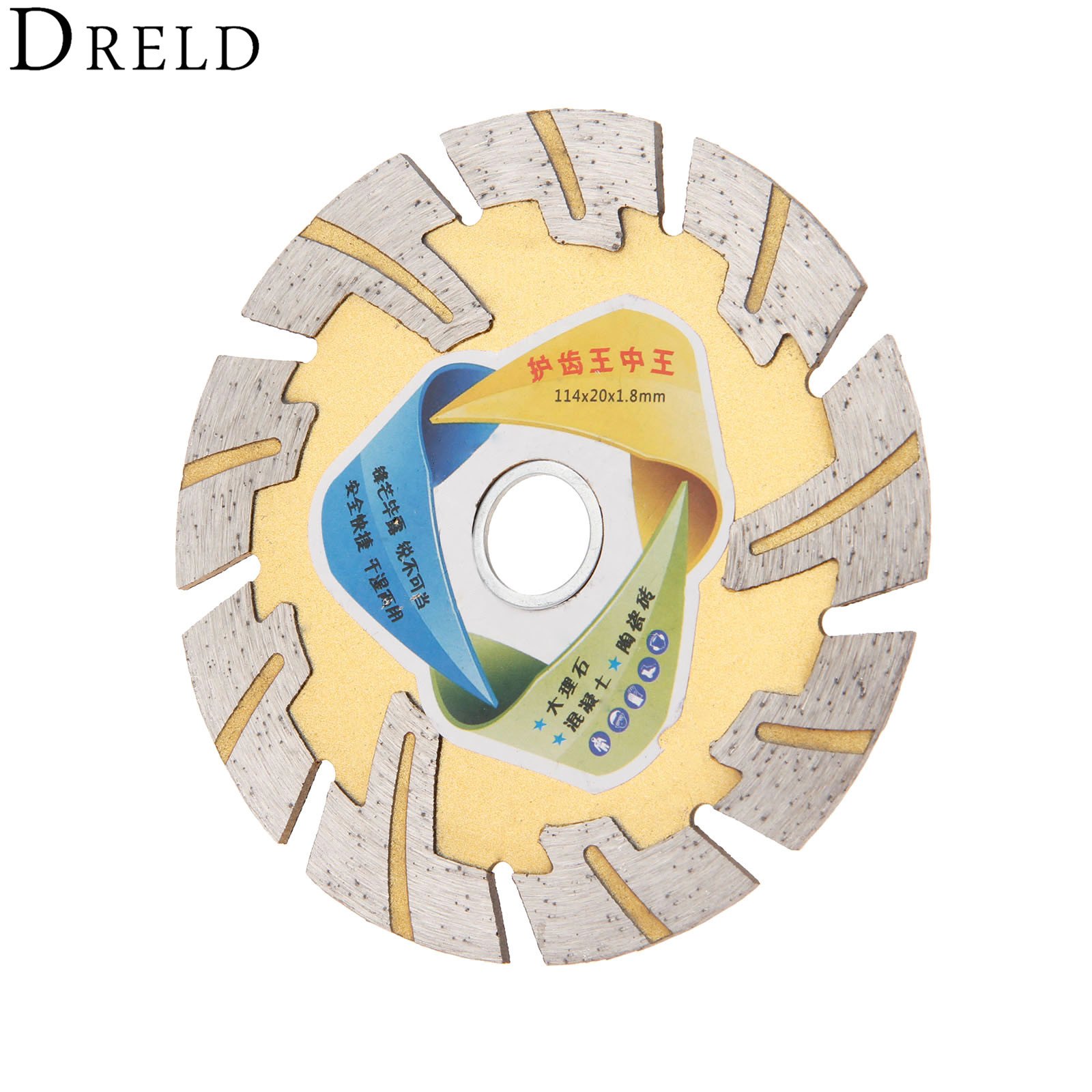 DRELD 114mm Diamond Saw Blade Metal Alloy Wheel Cutting Disc For Marble Ceramic Tile Angle Grinder Grinding Stone Brick Concrete