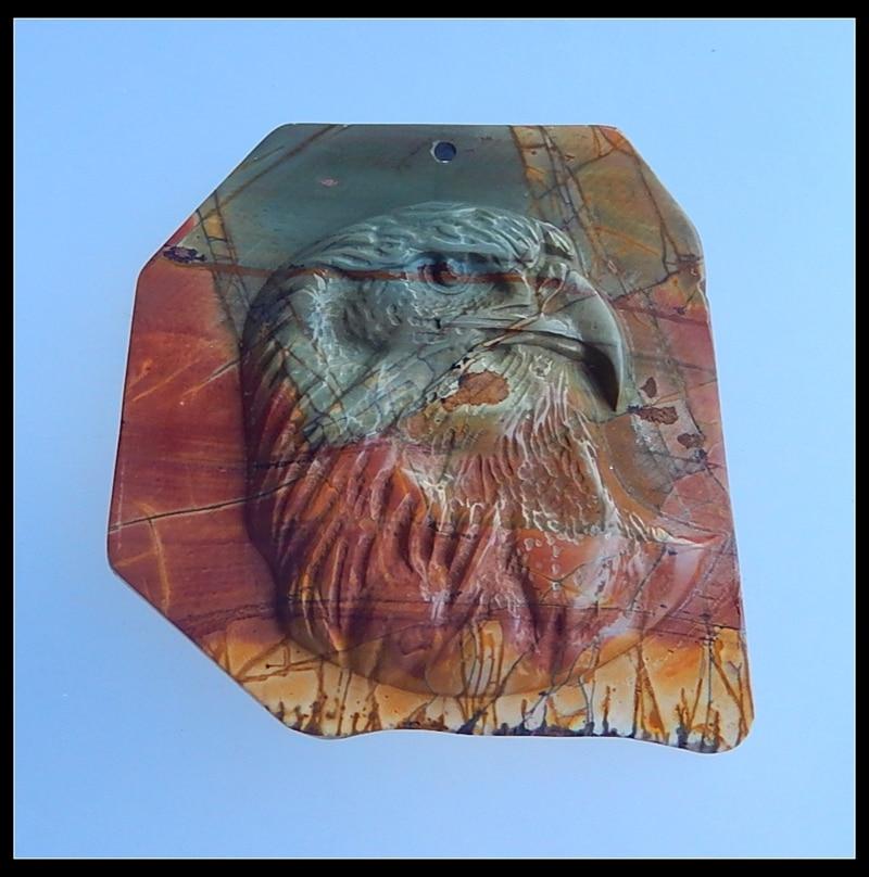 天然石マルチカラーピカソジャスパー彫ネックレスペンダント 58 × 55 × 8 ミリメートル 38.08 グラム半貴石石のファッション最高のギフト  グループ上の ジュエリー & アクセサリー からの ジュエリー用具 & 部品 の中 1