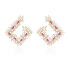 XIUMEIYIZU Delicate Jewelry Custom Trendy Earrings for Women Pendientes Fashion Hollow Out Square Stud Earring Brincos