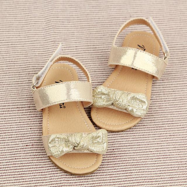 O novo 2016 princesa calçados sandália 1-6 anos de moda BORBOLETA Sapato TOE sandálias de Verão do bebê Meninas de Verão arco Criança