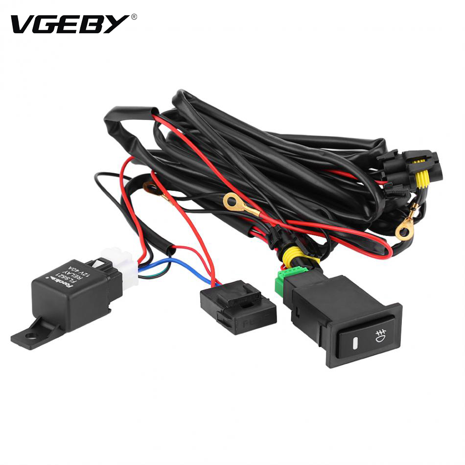 12 v universal car led fog light on/off switch car styling wiring harness  kit