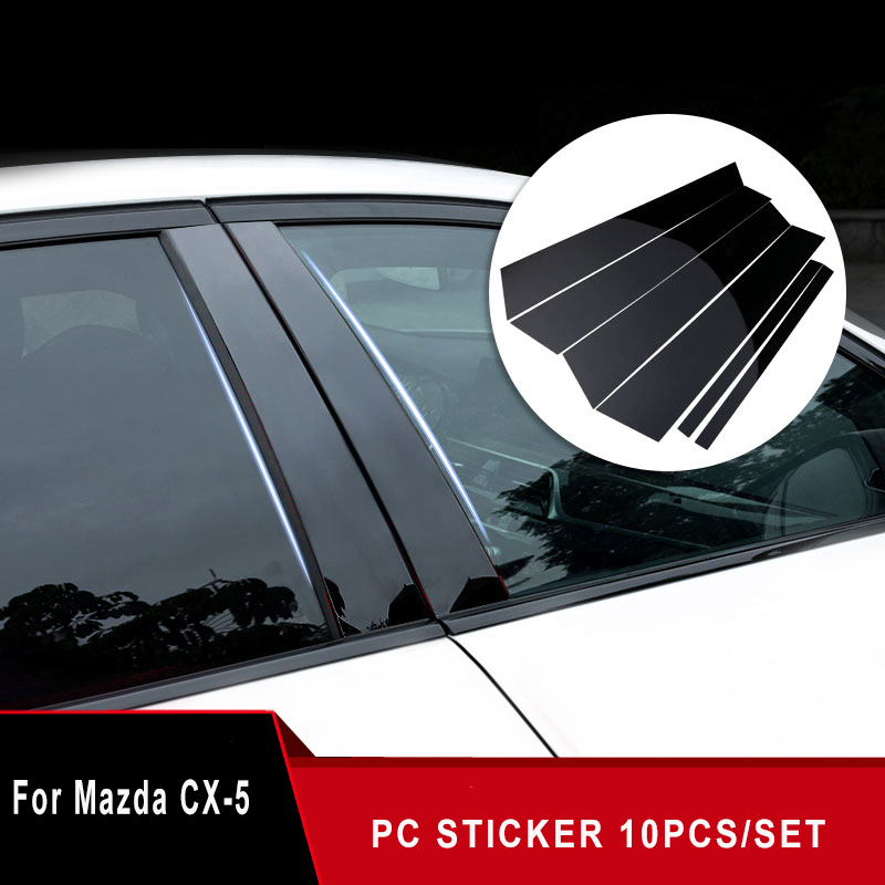 10PCS BLACK PILLAR POSTS SET DOOR TRIM PIANO COVER KIT FOR MAZDA CX-5 2013-2016
