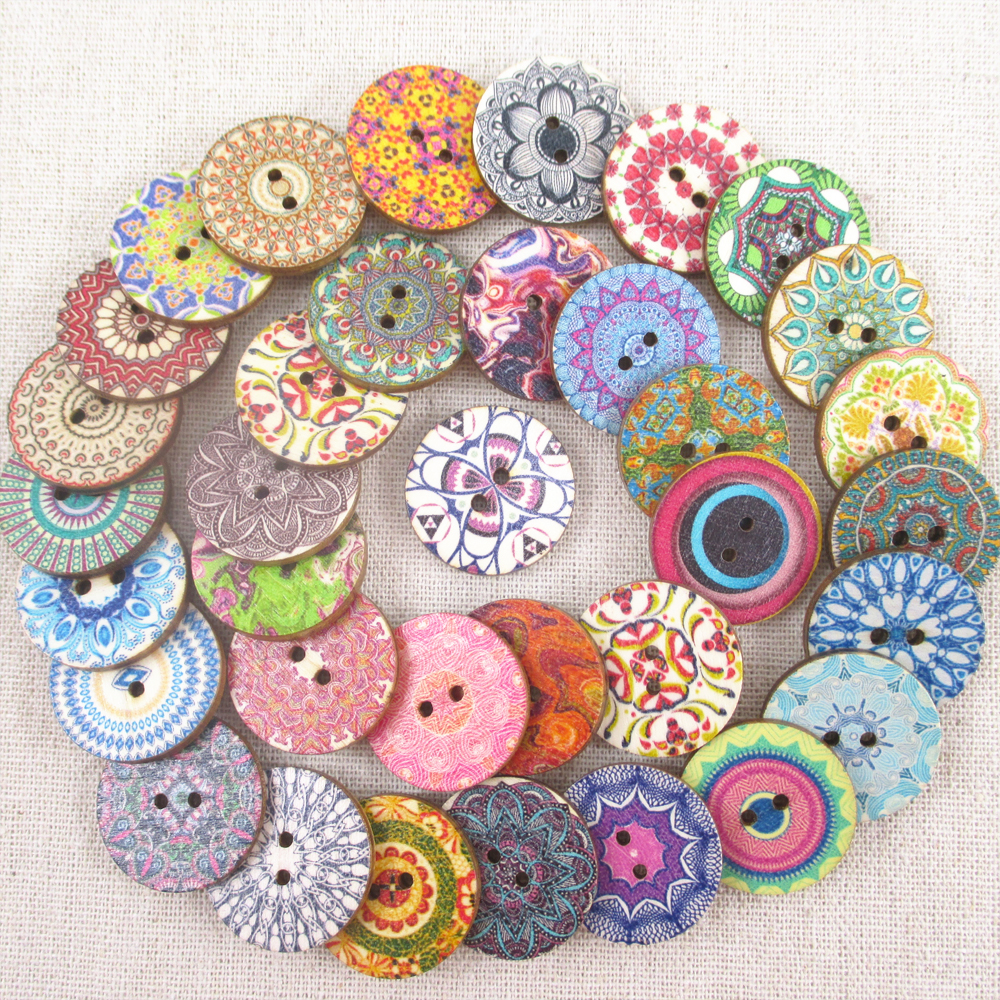 25 25mm mixed patterns circular wooden button decorative for Craft buttons for sale