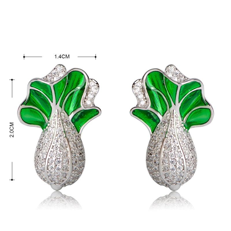 MECHOSEN Vegetables Stud Earrings Prong Setting Zirconia Gold Color Brincos Women Aesthetic aretes de mujer aros Bijoux sieraden