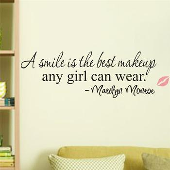 a smile is the best makeup Marilyn Monroe inspirational quote wall stickers girl 8129. home decor vinyl decal room mural art 4.0