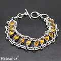 hermosa  jewelry Casual fashion 925 sterling silver texquisite beauty of classic citrine bracele 7.5'' HF212