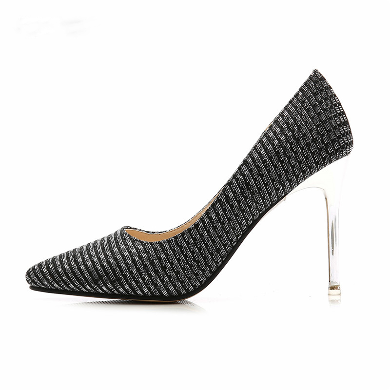 BBZAI NEW Spring Autumn Sequins wedding Pumps 10cm Thin High-<font><b>Heele</b></font> Party stiletto Ladies super <font><b>size</b></font> shoes US4- <font><b>15</b></font> Drop shipping image
