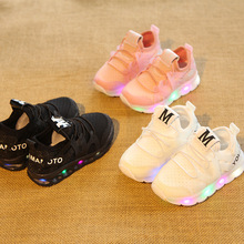 2016 European fashion boys girls shoes high quality LED light kids B letters cool baby sneakers cute