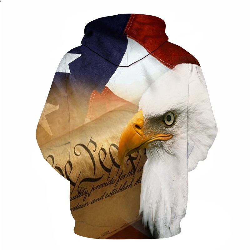 BIANYILONG Eagle 3D Print Hoodies Sweatshirts Men Fashion American Flag Hooded Sweats Hip Hop Unisex Graphic Pullover hoodies