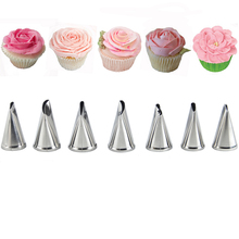 hot deal buy 7 pcs rose tips cream pastry tools set cake decorating icing piping nozzles sugarcraft bakeware