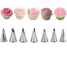 7 Pcs Rose Tips Cream Pastry Tools Set Cake Decorating Icing Piping Nozzles Sugarcraft Bakeware  цены онлайн
