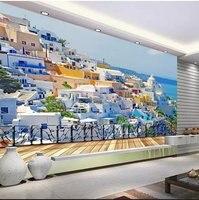 Custom 3d photo Southeast Asia seascape room architectural complex design 3d wallpaper 3d mural Mediterranean style 3dwall paper