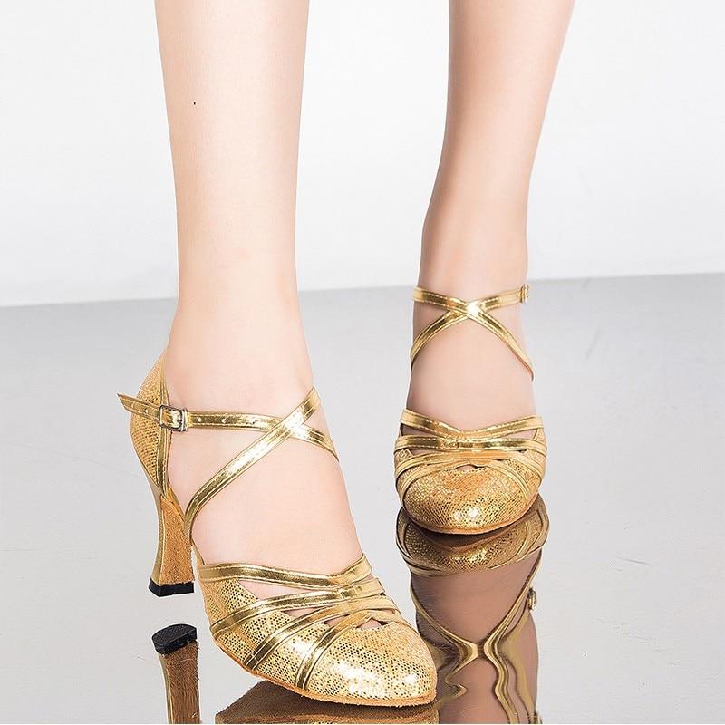 2019 nouvelle marque or argent filles dames semelles douces confortables Zapatos Tango Salsa danse salle de bal chaussures de danse latine