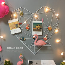 DIY Decoration Iron Storage Rack Holder Postcards Mesh Frame Home Bedroom Metal Heart-Shaped Photo Grid Frame Wall Photos Frame(China)