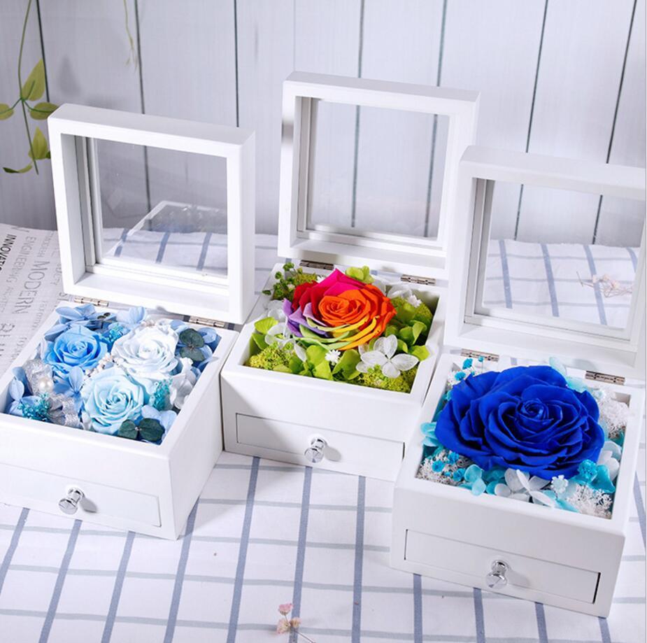 1 boîte Rose préservé fleurs fraîches avec étui à bijoux en bois pour fête de mariage anniversaire saint valentin cadeau faveurs