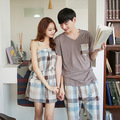 Summer women 's sleep plaid  men' s short - sleeved couples home pajamas