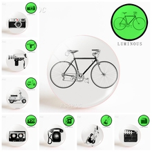 5pcs/set  Black White Vintage Bicycle Camera Guitar Cell Phone 25mm Luminous Glass Dome Making Keychain Fashion Jewelry Gift