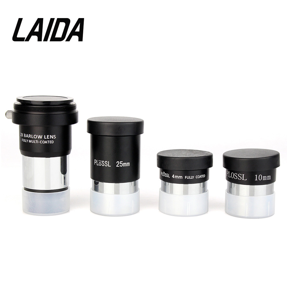 LAIDA 1.25 Plossl Eyepieces Kit 4mm+10mm+25mm+2x Barlow Lens for Astronomical Monocular Telescope M0079