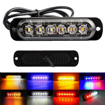 цена на Light Bar Work Ligth 6 LED Flash Emergency Car Vehicle Warning Strobe Flashing Lights for Motorcycle Tractor Ultra-thin Lamp 12V
