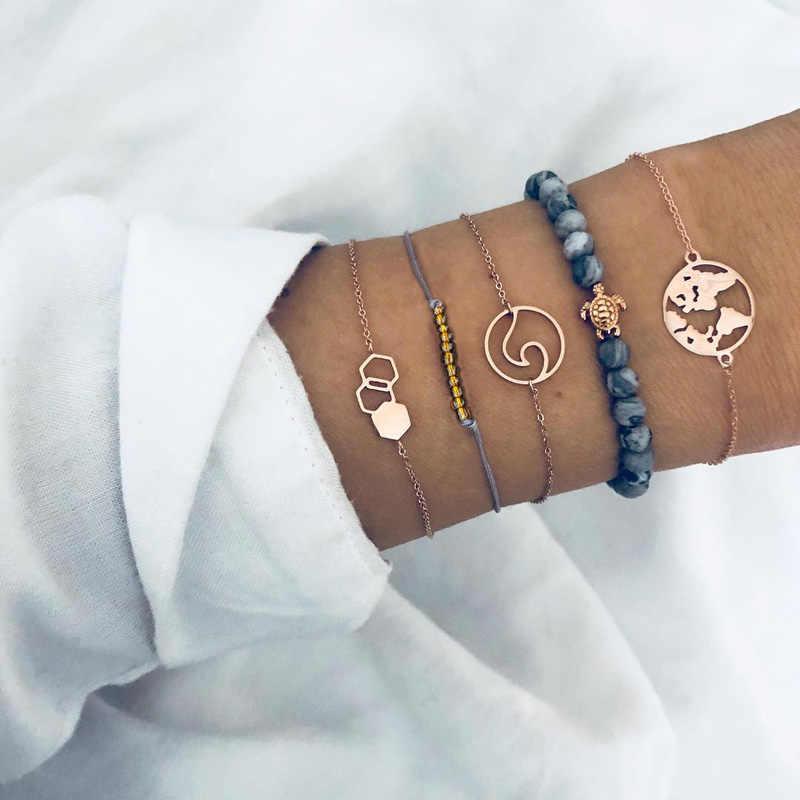 Artystyczny czarny zroszony bransoletki dla kobiety mężczyźni w stylu Vintage, moda, serce, fala urok bransoletki zestawy biżuteria boże narodzenie prezenty