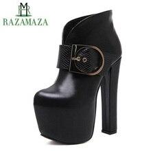RAZAMAZA mujeres botas de tacón alto plataforma hebilla de Metal cremallera  Mujer botas cortas Sexy Mature Ladies zapatos mujer . 517c83113217