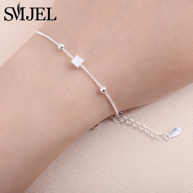 SMJEL  New Tiny Cubic Square Bracelets for Women Fashion Simple Silver Geometric Cuff Bracelets Femme Wedding Jewelry Gifts B050