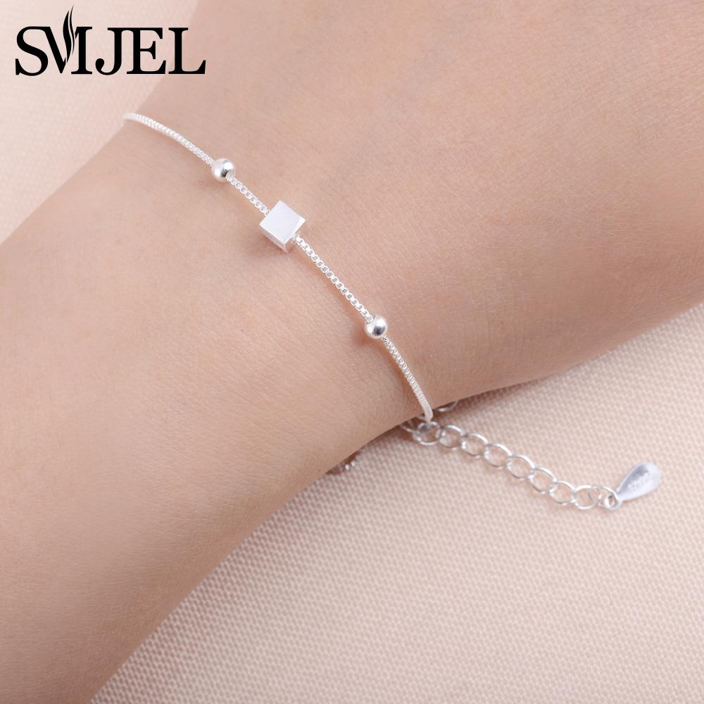 SMJEL silver color Jewelry Tiny Cubic Square Womens