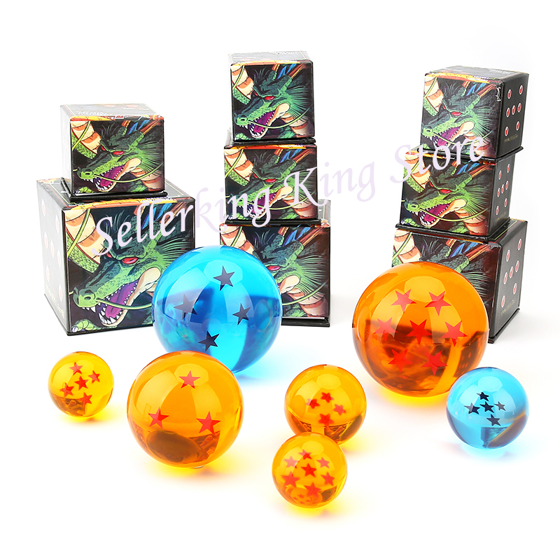 1Pcs DBZ 3.5cm/ 4.5cm/ 7.5cm Dragon Ball Z Dragonball Shenron Crystal Ball PVC Figure Toy 7 Stars Balls Dolls 4 Size Great Gift