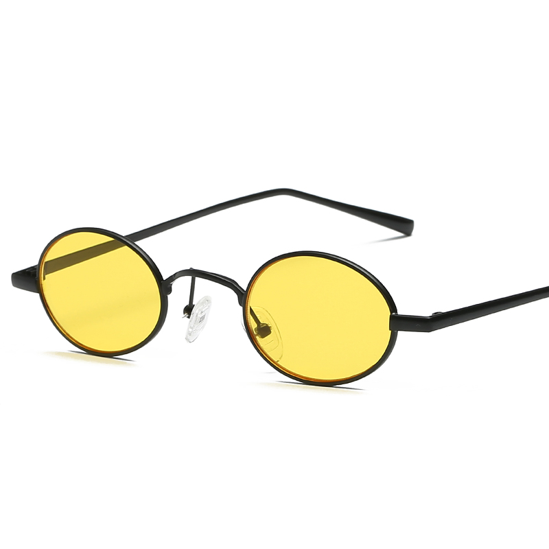 752bef95377 Small Oval Sunglasses Men Fashion Retro Metal Frame Yellow Red Vintage Tiny  Round Skinny Male Female Sun Glasses UV400