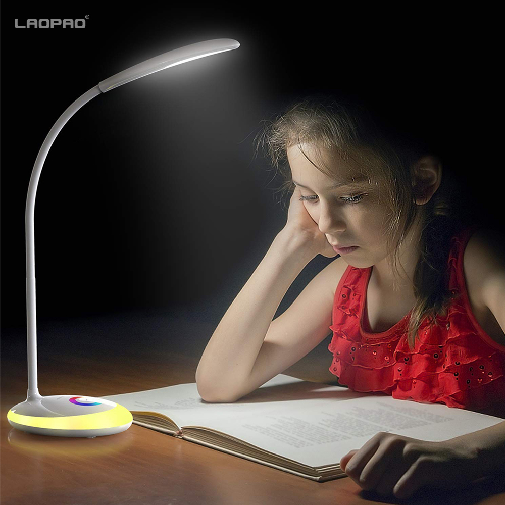 LED Desk Lamp with Night Light USB Charging table lamp full Color 3 Level Adjustable Brightness Book Reading light LAOPAO super bright led desk lamp 15w slide control metal table lamp 6 level brightness 6 color modes adjustable reading lights