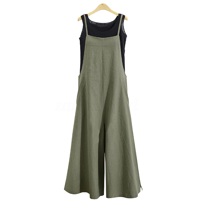 2019 summer new European and American fashion casual large S-3XL ladies women's cotton linen pocket long wide leg   jumpsuit   sling